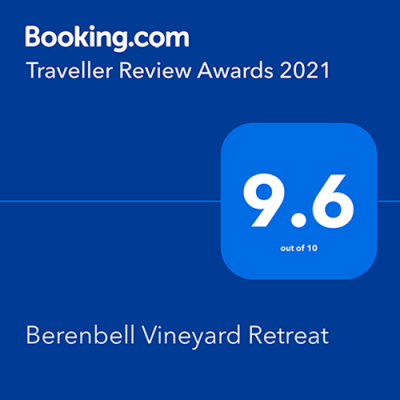 Booking dot com 2021 Awards - Berenbell Vineyard Retreat