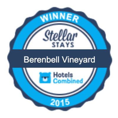 Stella Awards 2015 - Berenbell Vineyard Retreat rated top 3 percent of hotels in the world by Hotels Combined
