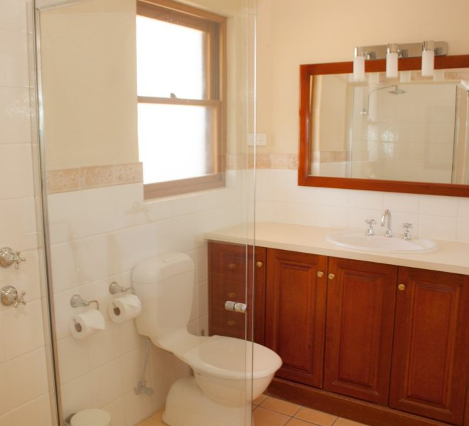 Berenbell Vineyard Retreat - Shower and Vanity unit in 2 bedroom Lodge