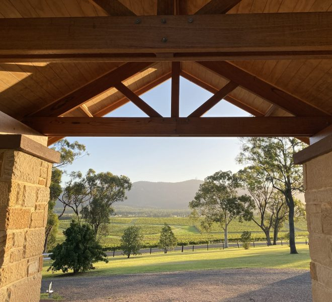 View to the Brokenback range through Berenbell's portico